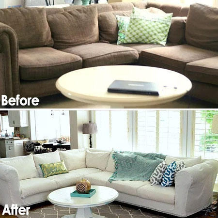 drop cloth sofa makeover
