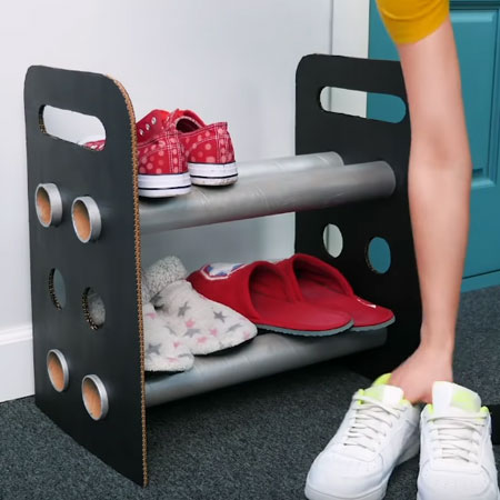 Recycle Cardboard Box and Tube into Shoe Rack