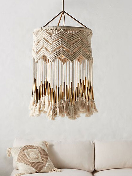 macrame lamp and light shade