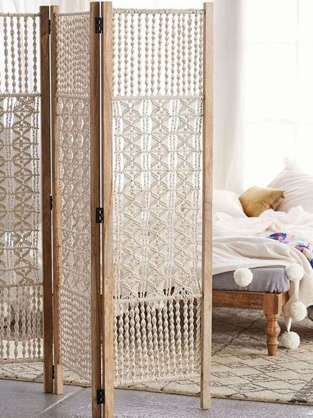 macrame wall or room divider