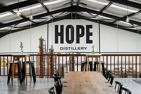 Hope Distillery have an experiential tasting room that offers a real up-close-and-personal taste of the brand.