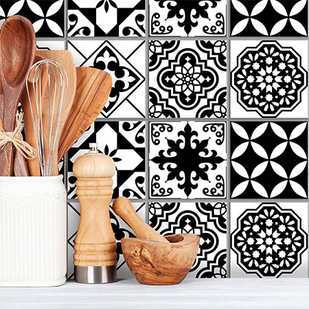 refresh kitchen backsplash with vinyl tile stickers
