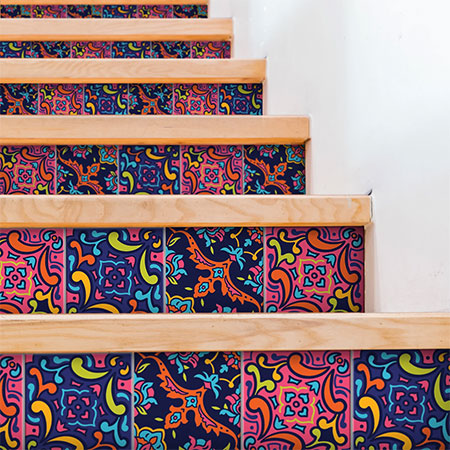 dress up staircase with vinyl tile stickers
