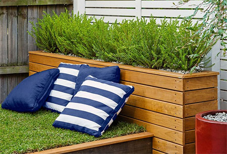 grassed day bed for outdoors in garden