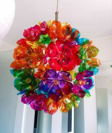 Make Party Decorations with Coloured Plastic Bottles