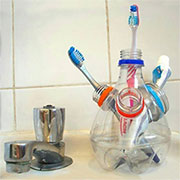 plastic bottle toothbrush holder