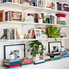artfully arranged bookcase