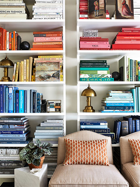 how to organized jammed pack full bookcase