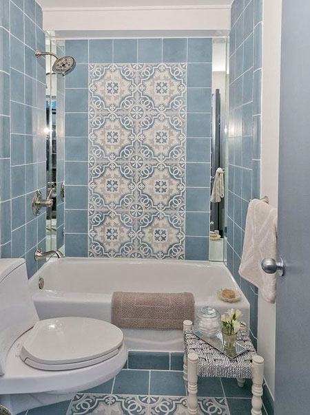how to disguise ugly coloured bathroom tiles