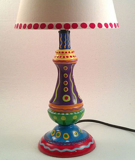 Table Lamp makeover with Acrylic Craft Paint