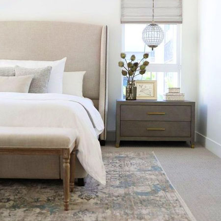 add rugs for comfort underfoot in bedroom