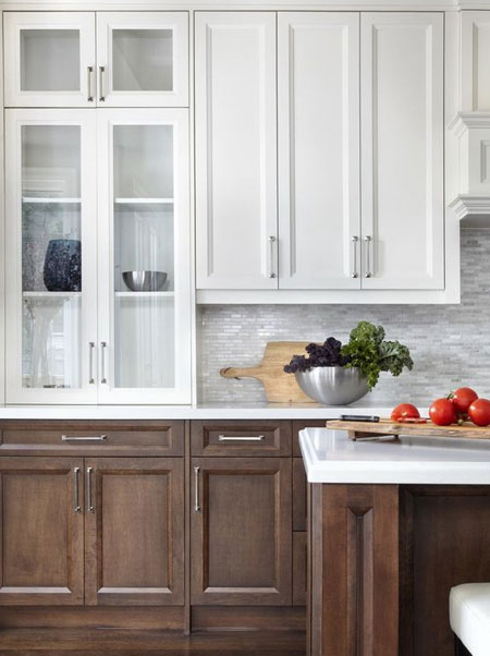 2 tone kitchen cabinets with wood