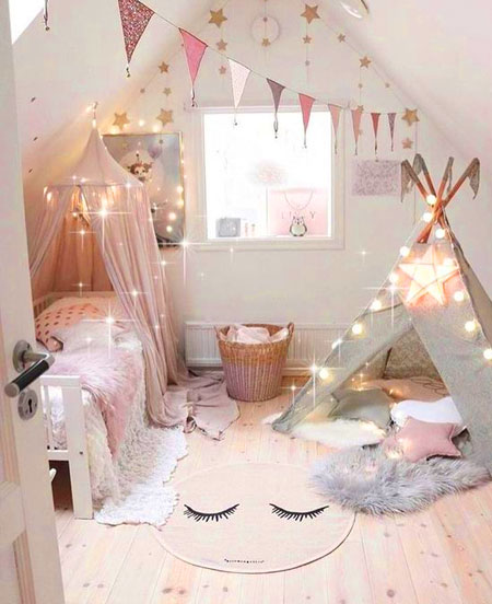 trendy pink bedroom for little girls