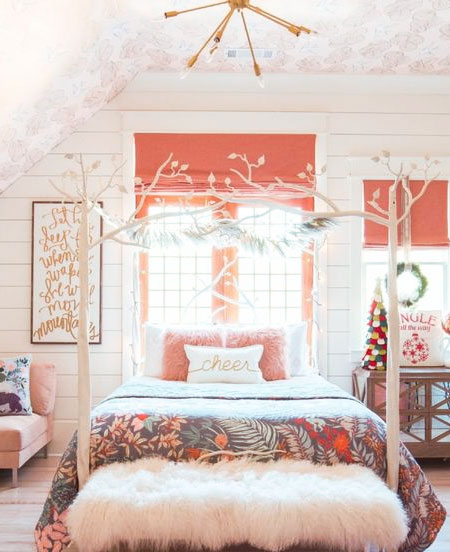 coral bedroom for little girls
