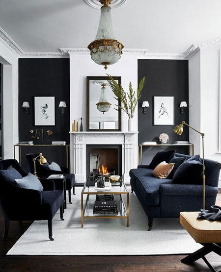 painted alcoves with dark colour