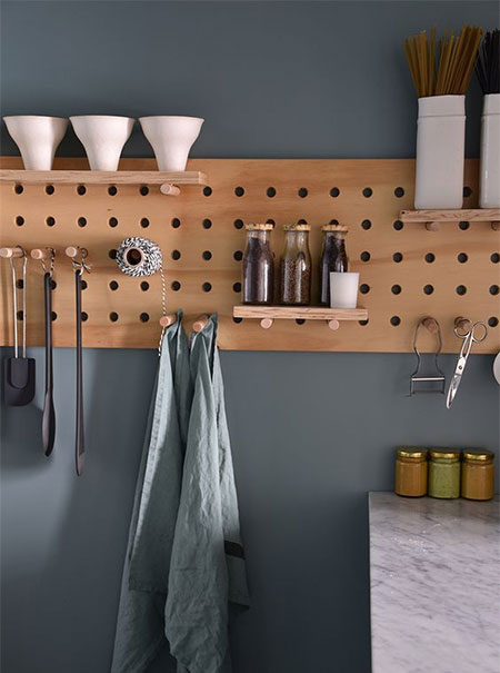 diy pegboard shelf for bathroom or kitchen