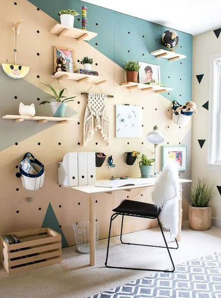 pegboard shelf wall for office or study
