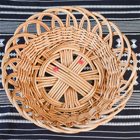 rattan basket as mirror frame