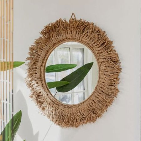 use jute rope to make mirror frame