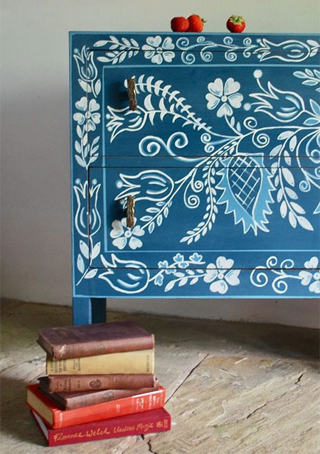 colourful chalk paint on furniture