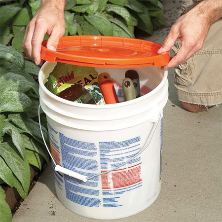 recycle hth or paint buckets into storage containers