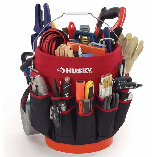 recycle plastic bucket into tool caddy