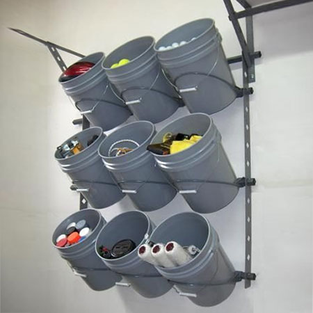 recycle plastic paint buckets for garage storage