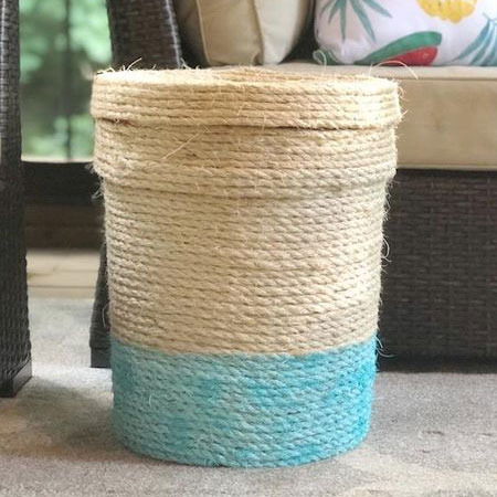 paint bucket wrapped with rope for storage
