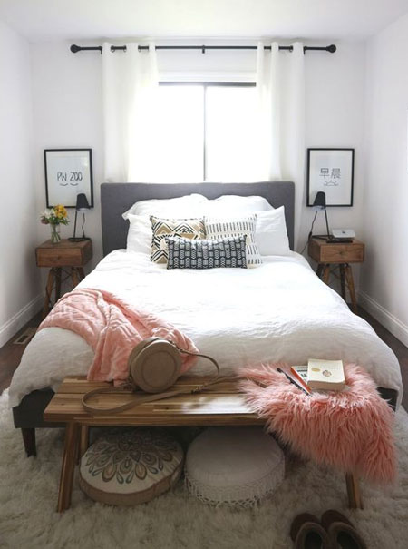 avoid large furniture in small bedroom
