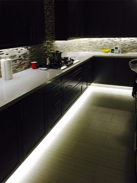 led strip lighting in kitchen