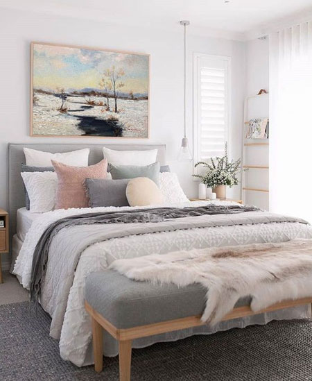 pink white grey bedroom colour palette