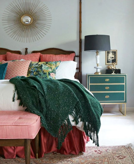 pink white green bedroom colour palette