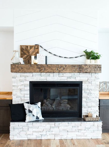 how to whitewash brick fireplace surround