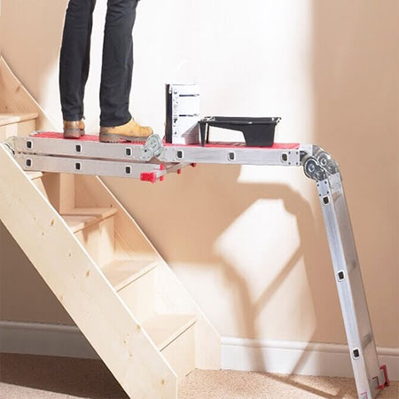 diy ladder platform to hold ladder level