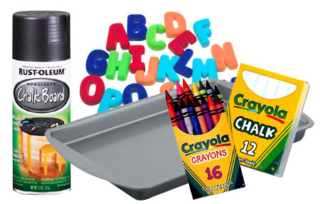 baking tray ask mom if she has an old one you can use rust oleum chalkboard spray magnetic alphabet crayons chalk toy cars newspaper