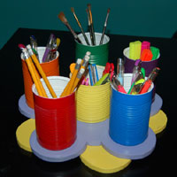 Recycled tin stationery holder