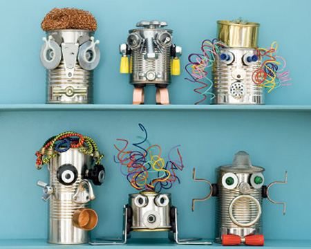 Crafts for tweens recycled tin can robots