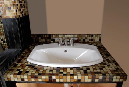 Home dzine bathrooms mosaic tile vanity for bathroom for Mosaic tile vanity top