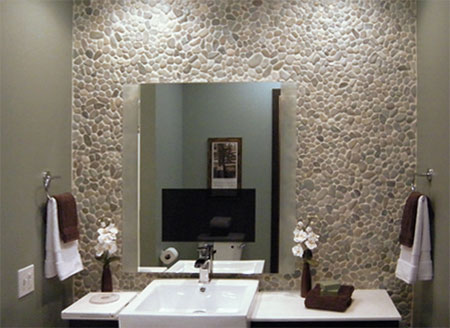 Create A Dramatic Focal Point In A Bathroom By Covering An Entire Vanity Wall With Pebble Mosaic Tile