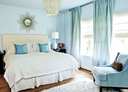 Above By Choosing Aqua Rather Than A True Blue This Bedroom Is Still Calm Tranquil And Cool The Headboard Matching Bedding Are Shrouded In White