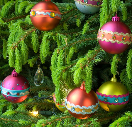 christmas baubles and tree decorations