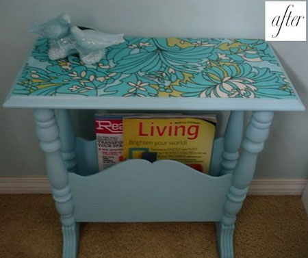 A little fabric and mod podge and this old magazine table is spiffed up and  perfect for any home. Start by painting the table - Prominent Paints  Non-Drip ...