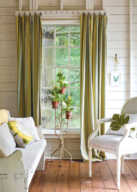 Home dzine home decor quick and easy window treatments for Unusual ways to hang curtains