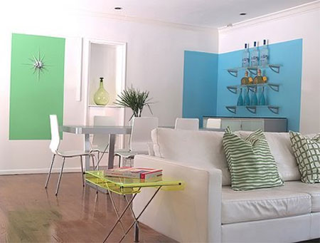 home dzine how to colour block for walls. Black Bedroom Furniture Sets. Home Design Ideas
