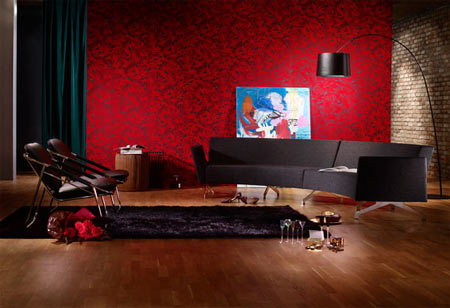 Home dzine go large with wallpaper for Red wallpaper designs for living room