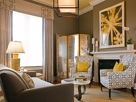 yellow accessories for living room. A formal living room gets a cheeky colour treatment with deep brown walls  accented egg yolk yellow accessories needs strong accents for Active Network properties Decorating changes your