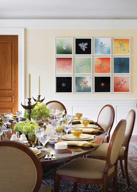 Dining Room Is Given A Blast Of Colour With The Framed Art On One Wall