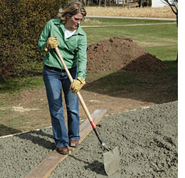 Have A Helper With A Shovel Spread The Concrete Into Corners And Against  The Forms And Expansion Joints. Lay A Wide Board Across The Forms So You  Can Reach ...