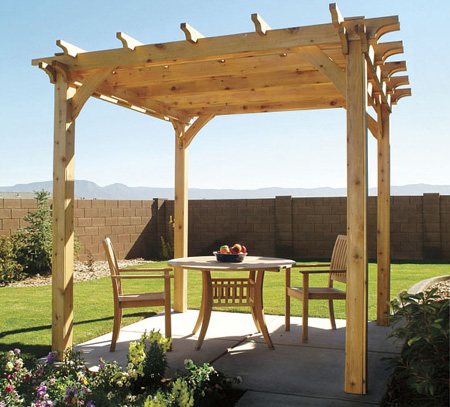 The materials used for your pergola can be pine or meranti, the former ...