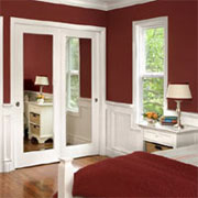 Visually enlarge a room with mirror doors